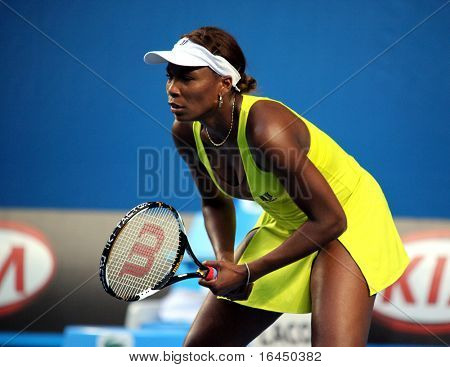 MELBOURNE, AUSTRALIA - JANUARY 19: Venus Williams in her first round win over Lucie Safarova of the Czech Republic in the 2010 Australian Open  on January 19, 2010 in Melbourne, Australia