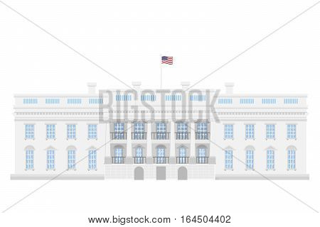 The White House on white background. American government.