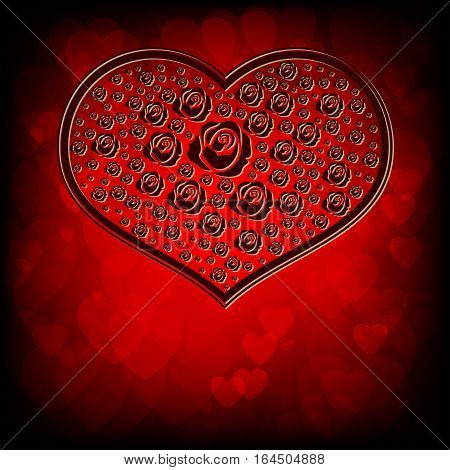 Design with red silhouettes of hearts, flowers, roses of different size Burgundy color
