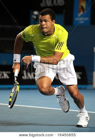MELBOURNE, AUSTRALIA - JANUARY 23: Jo-Wilfried Tsonga of France in his third round match against Tommy Haas of Germany during  the 2010 Australian Open on January 23, 2010 in Melbourne, Australia