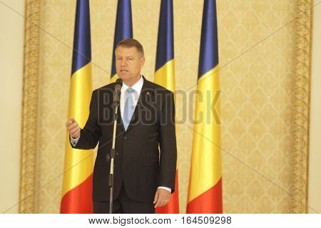 Romanian President Klaus Iohannis speaks after the swearing in ceremony of Dacian Ciolos Cabinet at Cotroceni Presidential Palace in Bucharest capital of Romania 17 November 2015.