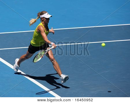 MELBOURNE, AUSTRALIA - JANUARY 26: Maria Kirilenko in action at her quarter final loss to Jie Zheng during the 2010 Australian Open on January 26, 2010 in Melbourne, Australia