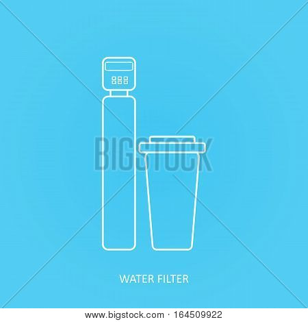 Tap water filter icon. Drink and home water purification filters. Vector water filter icon. Water softener filter and salt dissolver tank vector icon