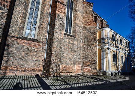 The brick wall of medieval church in Poznan