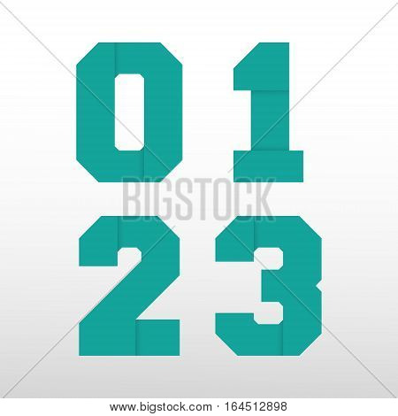 Number font template - origami paper design. Set of numbers 0 1 2 3 logo or icon. Vector illustration