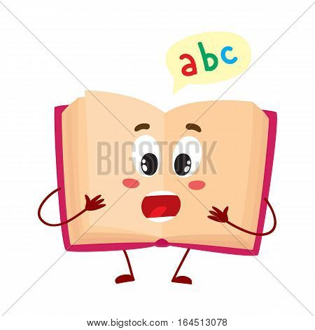 Funny open ABC book character with surprised face expression, cartoon vector illustration isolated on white background. Primary school abc textbook, shocked or surprised, school, education concept