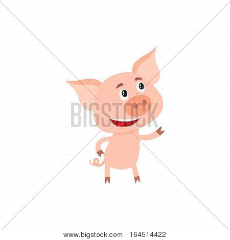 Funny little pig pointing and looking at something, cartoon vector illustration isolated on white background. Cute little pig standing on two legs, pointing and looking up, decoration element