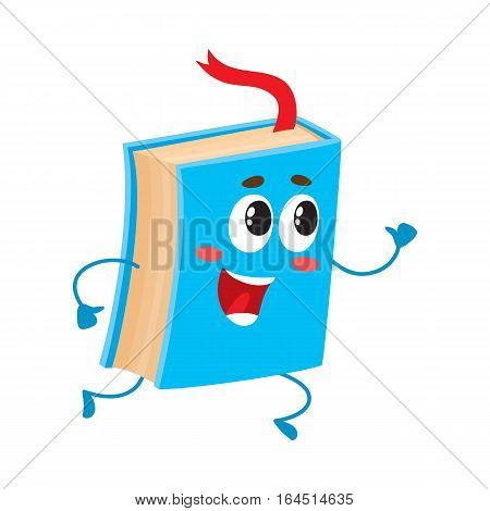 Funny book character running with bookmark ribbon visible, cartoon vector illustration isolated on white background. Blue book running happily with a wide smile, school, education concept