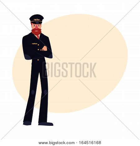 Full length portrait of serious civil airline pilot with beard and whiskers wearing black uniform, cartoon vector illustration on background with place for text. Hipster pilot wearing black uniform