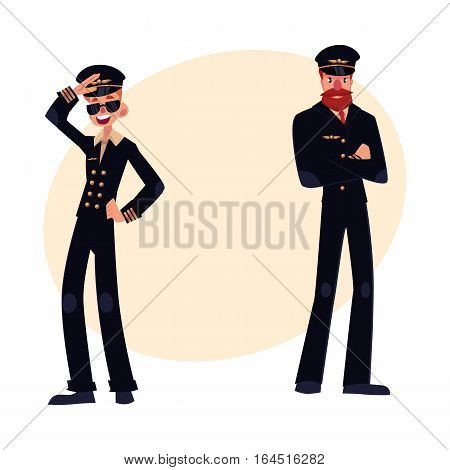 Full length portraits of two pilots in black uniform, young in sunglasses and mature with beard and whiskers, cartoon vector illustration isolated on white background. Two pilots, airplane crew team