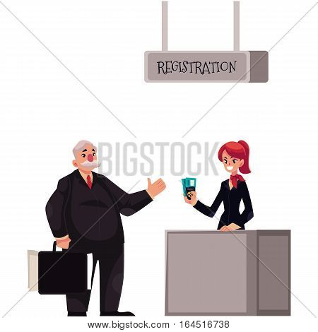 Line to airport check-in, passenger and baggage registration desk, cartoon vector illustration isolated on white background. Man waiting for check in, luggage drop, baggage registration in airport
