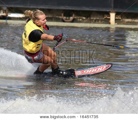 MELBOURNE, AUSTRALIA - MARCH 8: Cathryn Humphrey of Australia winning the slalom event at the Moomba Masters on March 8, 2010 in Melbourne, Australia
