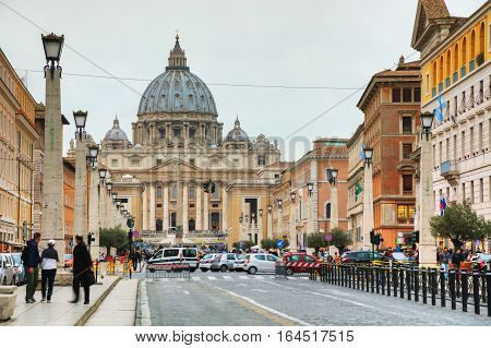 ROME - NOVEMBER 07: The Papal Basilica of St. Peter on November 7 2016 in Rome Italy.