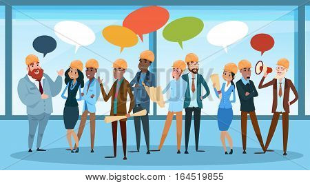 Builder Team Architect Mix Race Workers Chat Communication Bubble Talking Discussing Communication Social Network Flat Vector Illustration