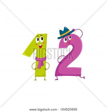 Cute and funny colorful 12 number characters, cartoon vector illustration isolated on white background. twelve smiling characters, birthday greetings, anniversary