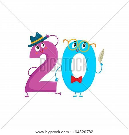 Cute and funny colorful 20 number characters, cartoon vector illustration isolated on white background. twenty smiling characters, birthday greetings, anniversary