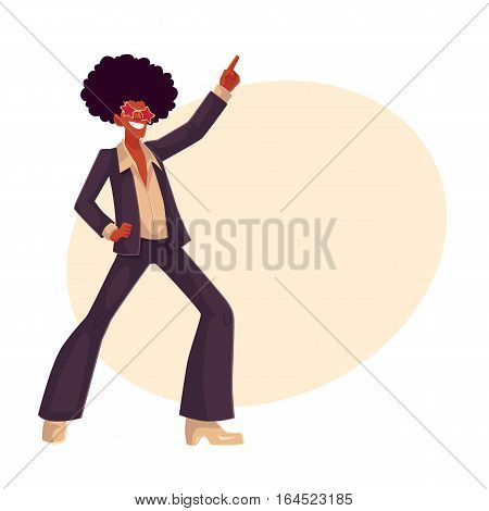 Man in afro wig and 1970s style clothes dancing disco, cartoon style vector illustration on background with place for text. Young man in star sunglasses and afro wig dancing at retro disco party