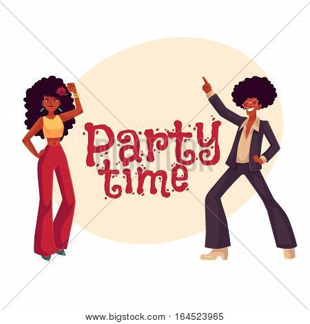Man and woman with afro hair and 1970s style clothes dancing disco, cartoon style invitation, greeting card design. Party invitation, advertisement, Young man and woman in flares with african black