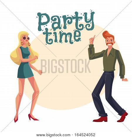 Red haired man and blond woman 1970s style clothes dancing disco, cartoon style invitation, greeting card design. Party invitation, advertisement, Man with beehive and girl in short 1960s dress