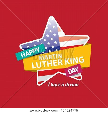 vector Martin Luther King Jr day us sticker or label isolated on red background.