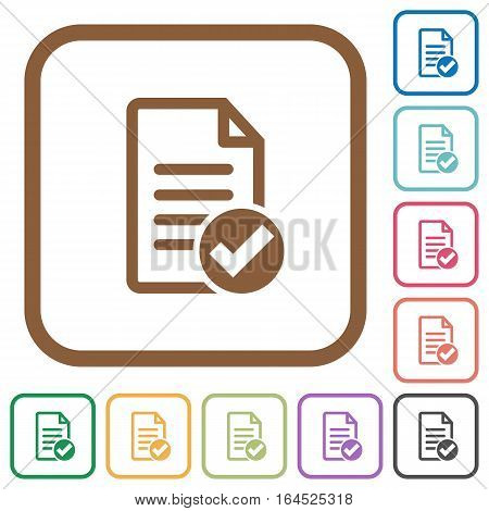 Document ok simple icons in color rounded square frames on white background