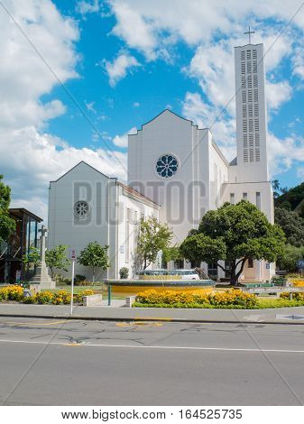 NAPIER HAWKES BAY NEW ZEALAND - MARCH 18 2013: Waiapu Cathedral of Saint John the Evangelist Napier the Art Deco building replaced the earlier structure destroyed in the 1931 earthquake