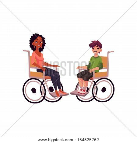Young black woman and teenaged white boy in wheelchairs, cartoon vector illustration isolated on white background. African woman and Caucasian school boy in wheelchairs, equal opportunities concept