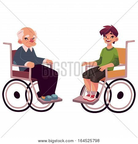Old man and teenaged boy sitting in wheelchairs, cartoon vector illustration isolated on white background. Disabled old man and school boy sitting in wheelchairs, living with disability concept