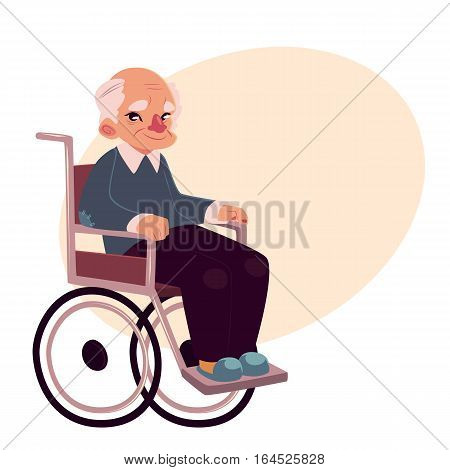 Portrait of happy old man sitting in wheelchair, cartoon vector illustration on background with place for text. Disabled senior, elder man, granddad sitting in wheelchair, living with disability concept