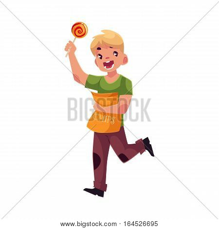 Little blond boy running with pack of chips and lollipop in hands, cartoon vector illustration isolated on white background. Boy holding package of chips and lollipop and running happily