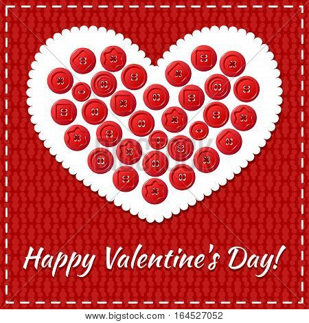 Red Valentines Day card with sewing buttons in the shape of heart and stitch.