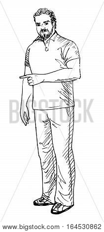 Hand-drawn sketch of man showing something isolated on white