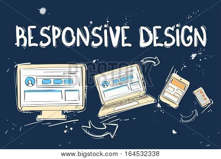 Responsive Design Laptop Phone Tablet Desktop Device Screen Size Doodle Hand Draw Sketch Background Vector Illustration