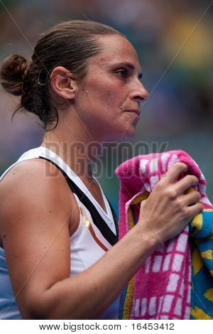 MELBOURNE - JANUARY 18: Roberta Vinci of Italy in her first round loss to Alicia Molik of Australia in the 2011 Australian Open - January 18, 2011 in Melbourne