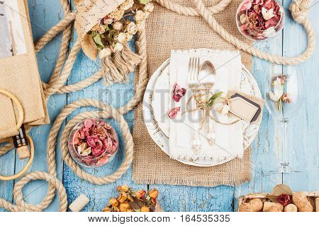 Tableware And Silverware With Dry Flowers