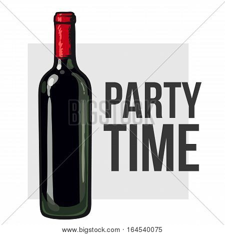 Red wine bottle, sketch style vector invitation, banner, poster template. Realistic hand drawing of an unlabeled, unopened wine bottle, party time concept