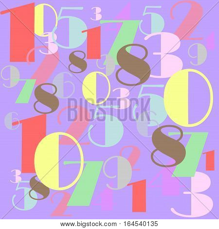 Numbers with pastel colors in a mixed order design illustration red yellow purple violet green brown
