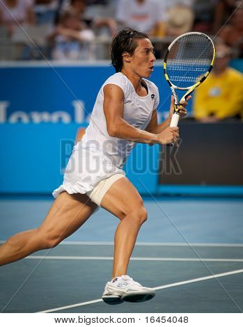 MELBOURNE - JANUARY 23: Francesca Schiavone of Italy in her marathon fourth round win over Svetlana Kuznetsova of Russia in the 2011 Australian Open on January 23, 2011 in Melbourne, Australia