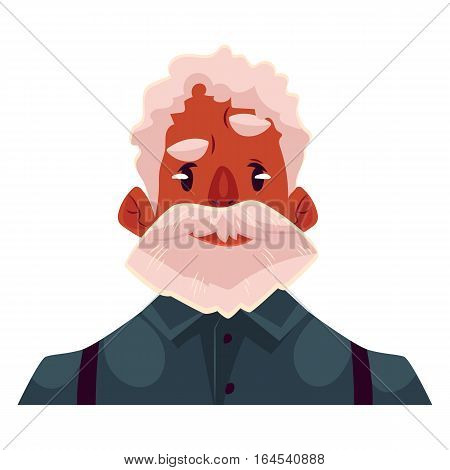 Grey haired old african man face, angry facial expression, cartoon vector illustrations isolated. Old black man, grandfather feeling distressed, frustrated, sullen, upset. Angry face expression