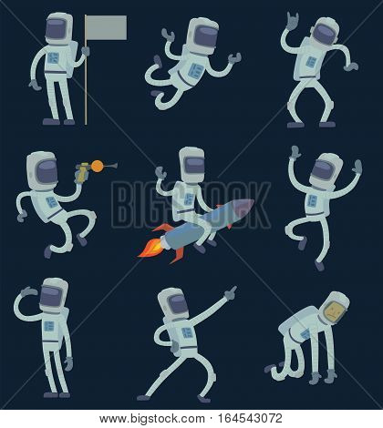 Vector astronauts in space, working and having fun. Isolated galaxy atmosphere system fantasy traveler man. Gravity floating journey suit vector alien robot characters.