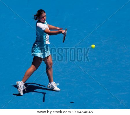 MELBOURNE - JANUARY 23: Anastasija Sevastova of Latvia in her fourth round loss to Caroline Wozniacki of Denmark  in the 2011 Australian Open on January 23, 2011 in Melbourne, Australia