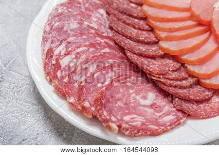 Assorted Deli Cold Meats on a plate
