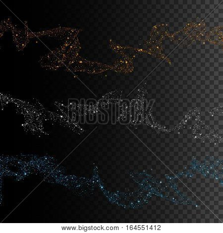 Gold silver and blue glittering star dust trail sparkling particles on transparent background