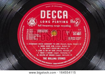 LONDON UK - JANUARY 4TH 2017: A close-up of the The Rolling Stones No. 2 vinyl album taken on 4th January 2017. The album was released in 1965 on the Decca record label.