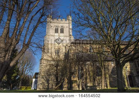 A view of the historic Waltham Abbey Church in Waltham Abbey Essex. King Harold II who died at the Battle of Hastings in 1066 is said to be buried in the churchyard.