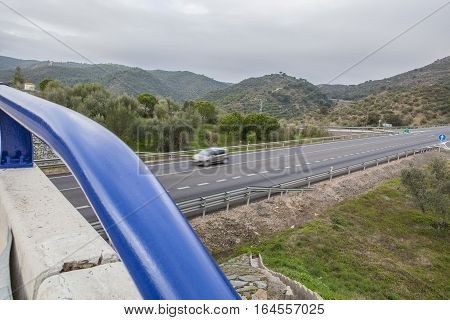 View of traffic from bridge at spanish national road with slow vehicles lane. Cerro Muriano Crdoba
