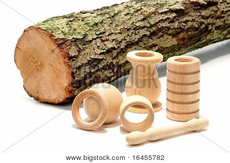 Turned Wood Parts And Raw Tree Log