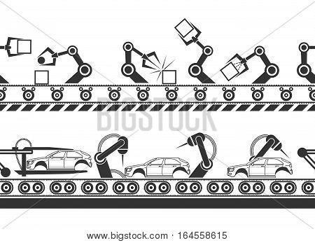Manufacturing production line conveyor belt tracks with robot hands vector illustration
