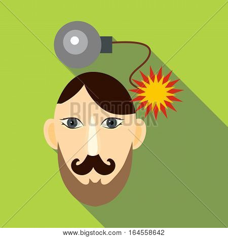 Bomb in head icon. Flat illustration of bomb in head vector icon for web