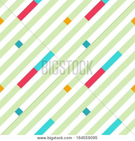 Seamless geometric stripy pattern. Texture of diagonal strips. Bright red, blue rectangles and green lines on white background. Baby, children colored. Vector
